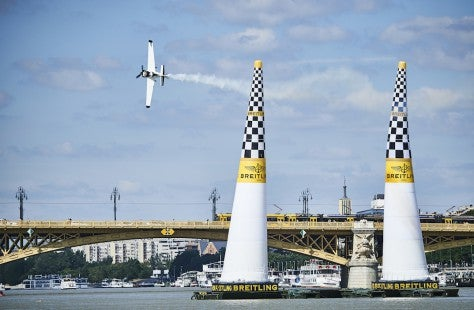 Michael Goulian of the United States performs during the training for the fourth stage of the Red Bull Air Race World Championship in Budapest, Hungary on July 15, 2016.